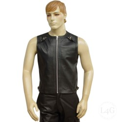 Leather Vest With Shoulder Strap With Buckle