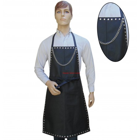 Leather Apron With Metal Stud & Chain