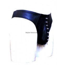 Leather Thong With Metal Studs in Black (Custom Made To Order) Plus sizes welcome