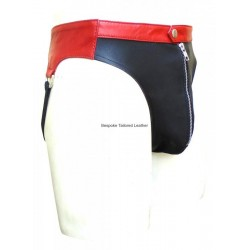 Leather Jocks Strap With Colour Waistband (Custom Made to Order)