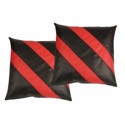 "2 Faux / Imitative Leather Cushion Covers Zipped 18"" 20"""