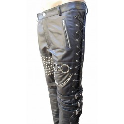 Leather Trouser With Metal Works