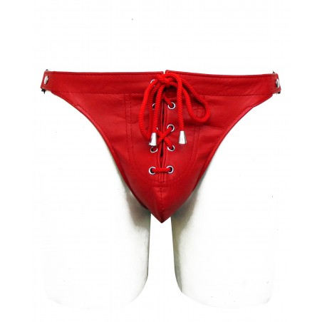Red Leather Jockstrap With Front Lace (Custom Made To Order)