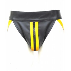 Leather Jockstrap With Colour Stripe (Custom Made To Order)