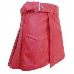 Red - Short Leather Kilt with Buckle - 16 Inches length (custom made to order)