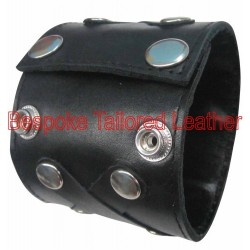 Leather Wristband With Colour Cross Stripe