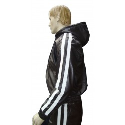 Leather Tracksuit in 2 White Stripes