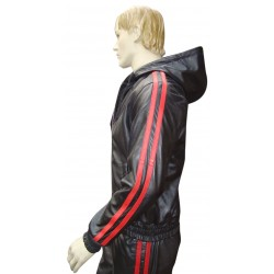 Leather Tracksuit With 2 Red Stripes