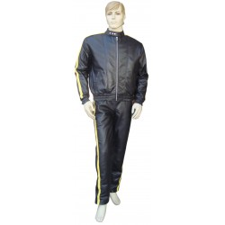 Leather Tracksuit With 1 Yellow Strip