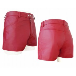 Red Leather Short With Two Pockets