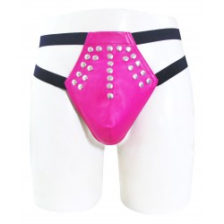 Elastic String Leather Thong With Stud on Front (Custom Made To Order)
