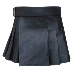 Leder Wrap-around-Art-Schwarz-Kilt (nach Maß, um)