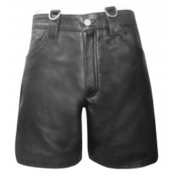 Leather Combat Shorts With D-Ring