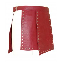 Red Short Leather Gladiator Kilt With Stud Work 15 Inches long (Custom Made to Order)