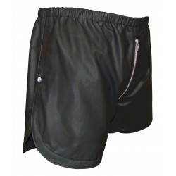 Black Leather Shorts with Full Front To Back Zip