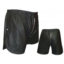 Leather Shorts with Full Front To Back Zip