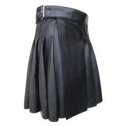 Knee length Kilt in Black Leather 19 Inches long (custom Made to Order)