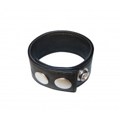 Leather Cock Ring with Snap Button