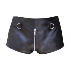 Black Leather Shorts with D-Ring