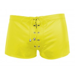 Yellow Leather Lace Up Style Shorts