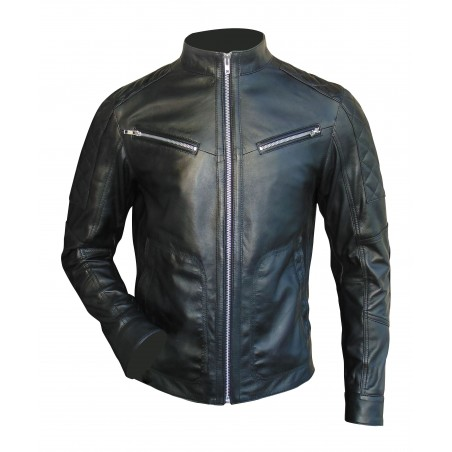 Biker Long Sleeve Round Neck Leather Jacket(Custom Made to Order) Plus sizes welcome