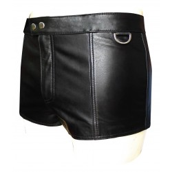 Leather Shorts With Full Lace Back and Snap Button on front