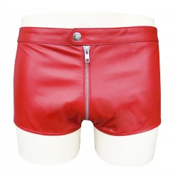 Leather Shorts With Front Zip