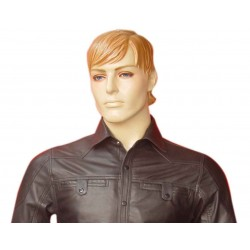 Leather Short Sleeve Shirt With Flap Pocket - Sheep Nappa - Custom Made To Order