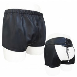 Sexy Black Leather Chaps Shorts (Custom Made To Order) Plus Sizes Welcome