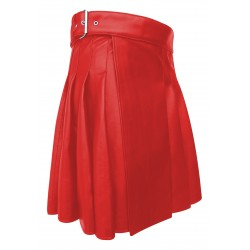 Knee length Kilt in Red Leather 19 Inches long (custom Made to Order)