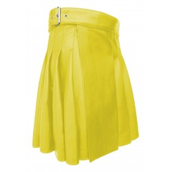 Knee length Kilt in Yellow Leather 19 Inches long (custom Made to Order)