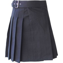 Knee Length Kilt in Black Canvas 19 Inches long (custom Made to Order)