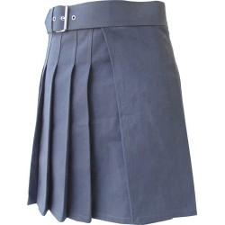 Knee Length Kilt in Grey Canvas 19 Inches long (custom Made to Order)