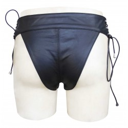 Leather Briefs with Lace-up on Waist(Custom Made to Order) Plus sizes welcome