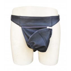 Leather Jockstrap with Color Detachable Pouch and Adjustable Buckle (Custom Made to Order)
