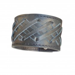 Leather Wristband With Stripes (Custom Made To Order)