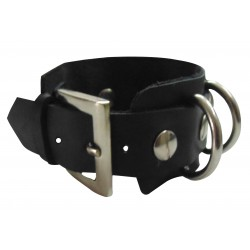 Leather Wristband With Side Stripes (Custom Made To Order)