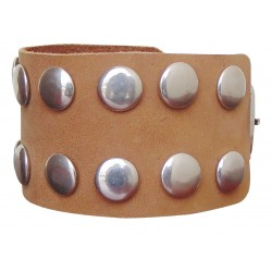 Brown Leather Wristband With Studs (Custom Made To Order)