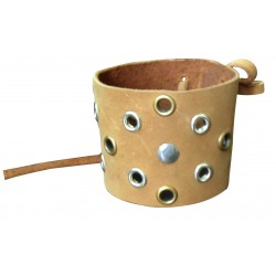 Brown Leather Wristband With Rivets & Eyelets (Custom Made To Order)