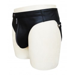 Black Leather Jocks Strap With Black Waistband (Custom Made to Order)