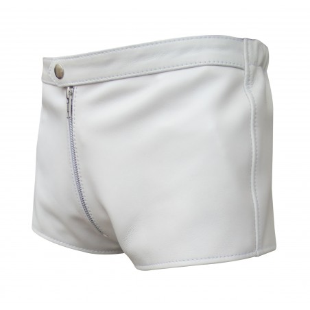 White Leather Shorts With Front Zip