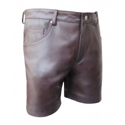 Brown Leather Shorts with Five Pockets
