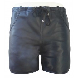 Black Leather Shorts With Piping (Custom Made To Order)