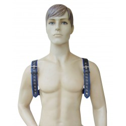 Leather Adjustable Harness with O-Ring and Blue Color Piping