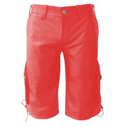 Red Leather Shorts With Six Pockets