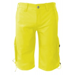 Yellow Leather Shorts With Six Pockets