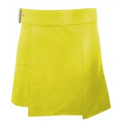 Yellow - Short Leather Kilt with Buckle - 16 Inches length (custom made to order)