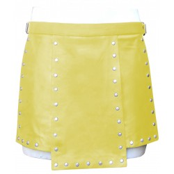 Yellow Short Leather Gladiator Kilt With Stud Work 15 Inches long (Custom Made to Order)