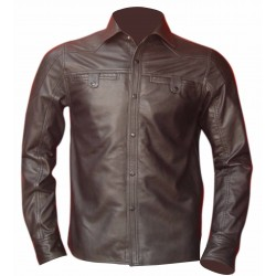 Men's Leather Shirt in Brown with Two Flap Pockets