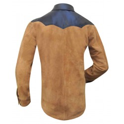 Suede Leather Shirt With Upper Sheep Leather -Suede Leather-Custom Made To Order
